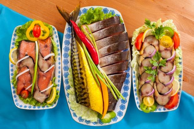 Seafood appetizer red fish fillet pink salmon mackerel